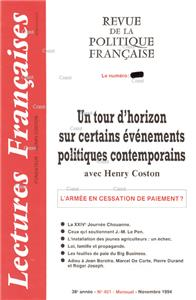 N° 451 Nov 1994 - Un tour d´ horizon de H. Coston sur la politique contemporaine